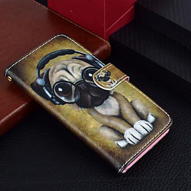 Недорогие Кейсы для iPhone-Кейс для Назначение Apple iPhone X / iPhone 8 Pluss / iPhone 8 Кошелек / Бумажник для карт / со стендом Чехол С собакой Твердый Кожа PU