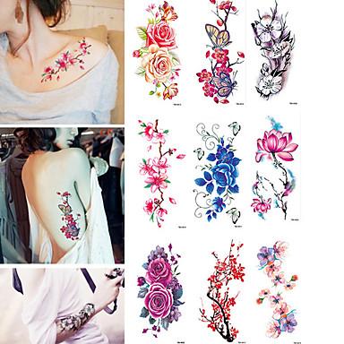 9 pcs ملصقات الوشم الوشم المؤقت وردة مقاوم للماء الفنون الجسم هيكل / ذراع / ملصق الوشم