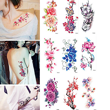 Tatuajes Pegatina 9 pcs tatuajes adhesivos los tatuajes temporales flor resistente al