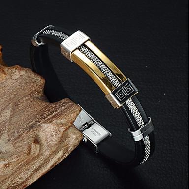 رجالي جديلي أساور من الجلد جلد ستانلس ستيل ثمين أنيق عتيق أوروبي سوار مجوهرات ذهبي من أجل هدية مناسب للبس اليومي