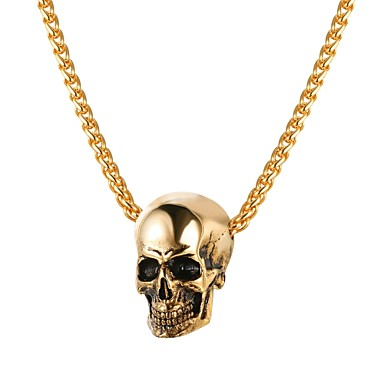 Bărbați Coliere cu Pandativ Funie Foxtail lanț Mexican Sugar Craniu Craniu Modă satanic Teak Auriu Negru Argintiu 55 cm Coliere Bijuterii 1 buc Pentru Cadou Stradă