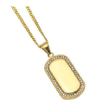 رجالي مكعب زركونيا قلائد الحلي ستايل بسيط شائع هيب هوب نحاس ستانلس ستيل ذهبي 60 cm قلادة مجوهرات 1PC من أجل هدية مناسب للبس اليومي