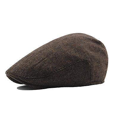 povoljno Muški šeširi-Muškarci Jednobojni Vintage Posao Pamuk Poliester-Beretka Jesen Zima Braon Obala Crn