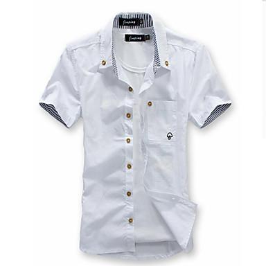 ccafdf689 رجالي قميص قياس كبير نحيل ياقة مع زر سفلي أساسي لون سادة, شاطئ خمر XL / كم  قصير / الصيف 4388606 2019 – €14.27