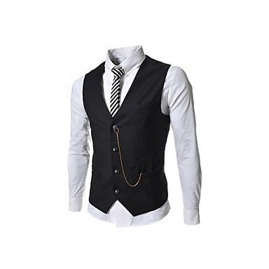 رخيصةأون سترات و بدلات الرجال-رجالي أحمر رمادي كاكي L XL XXL Vest لون سادة V رقبة / بدون كم / عمل