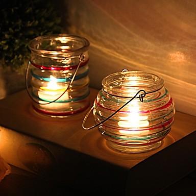 زهري / ريفي / أسلوب بسيط زجاج Candle Holders الشمعدانات 1PC, شمعة / حامل شمعة