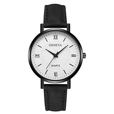 Geneva نسائي ساعة المعصم كوارتز جلد أسود / الأبيض / بني تصميم جديد ساعة كاجوال كوول مماثل سيدات كاجوال موضة - أسود / أبيض ذهبي روزي أبيض / البيج سنة واحدة عمر البطارية