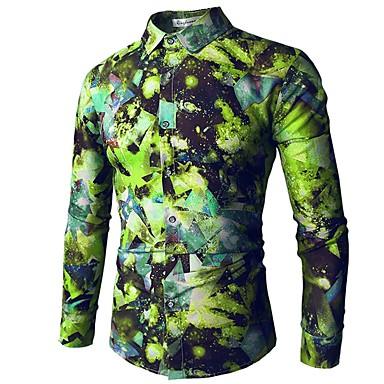 رجالي رياضي Active / أساسي طباعة قميص, هندسي ياقة كلاسيكية / كم طويل