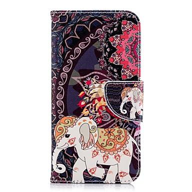 Недорогие Кейсы для iPhone X-Кейс для Назначение Apple iPhone X / iPhone 8 Pluss / iPhone 8 Кошелек / Бумажник для карт / со стендом Чехол Животное / Слон Твердый Кожа PU