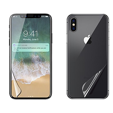 voordelige iPhone X screenprotectors-AppleScreen ProtectoriPhone X High-Definition (HD) Voorkant- & achterkantbescherming 2 pcts PET