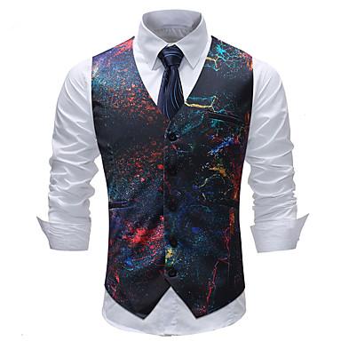 رخيصةأون سترات و بدلات الرجال-رجالي التقزح اللوني XXXL XXXXL 5XL Vest قياس كبير هندسي / ألوان متناوبة / منقوش V رقبة