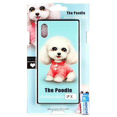 Недорогие Кейсы для iPhone 6-Кейс для Назначение Apple iPhone X / iPhone 8 Pluss / iPhone 8 С узором Кейс на заднюю панель С собакой Твердый Закаленное стекло
