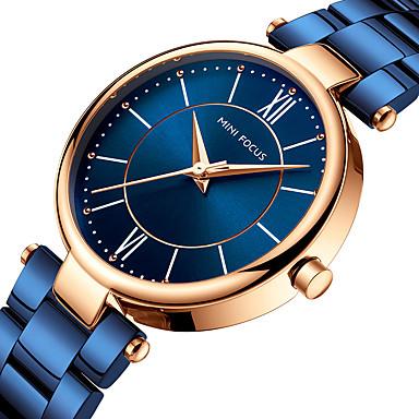 MINI FOCUS نسائي ساعة المعصم ساعة ذهبية ياباني كوارتز ستانلس ستيل أسود / أزرق / بني ساعة كاجوال مماثل ترف الحد الأدنى - كوفي أزرق ذهبي روزي