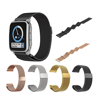voordelige Smartwatch-accessoires-Horlogeband voor Pebble Time / Pebble Time Steel Pebble Milanese lus Roestvrij staal Polsband