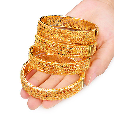 olcso Karkötők-4db Női Karperecek Bilincs karkötők Klasszikus Kreatív hölgyek Luxus Etno Dubai Olasz Arannyal bevont Karkötő ékszerek Sárga Kompatibilitás Parti Ajándék