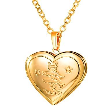 1ca3e6a8b943 Mujer Largo Zodíaco Grabado Collares con colgantes Guardapelo Piscis damas  Romántico Moda Corazón Dorado Plata 55 cm Gargantillas Joyas 1pc Para Regalo  ...