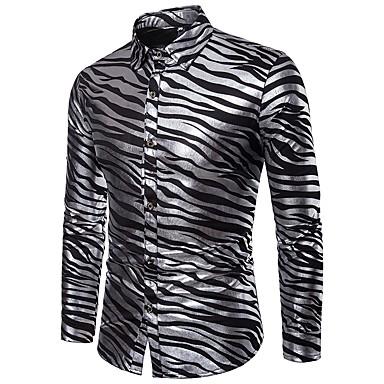 رخيصةأون قمصان رجالي-رجالي مناسب للحفلات / نادي ترف / أساسي طباعة قميص, مخطط / كم طويل