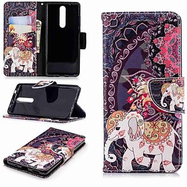 Недорогие Чехлы и кейсы для Nokia-Кейс для Назначение Nokia Nokia 5 / Nokia 3 / Nokia 2.1 Кошелек / Бумажник для карт / со стендом Чехол Слон Твердый Кожа PU
