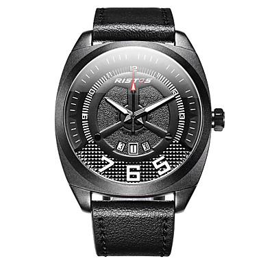 Недорогие Часы на кожаном ремешке-Муж. Нарядные часы Наручные часы Кварцевый Классика Защита от влаги Цифровой Черный / Красный Черный / коричневый Черный / Белый / Натуральная кожа / ЖК экран / Натуральная кожа