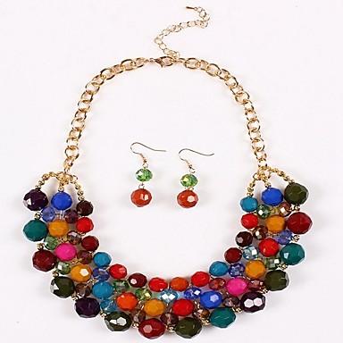 نسائي قلادة خمر حلقات كومة سيدات كلاسيكي غلو عرقي الأقراط مجوهرات التقزح اللوني / أحمر وردي من أجل مناسب للبس اليومي