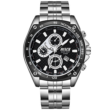 رخيصةأون ساعات الرجال-BOSCK رجالي ساعة المعصم كوارتز ستانلس ستيل فضة 30 m مقاوم للماء رزنامه تصميم جديد مماثل موضة - أبيض أسود أزرق / قضية
