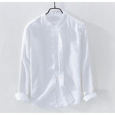 رخيصةأون قمصان رجالي-رجالي عمل كتان قميص, لون سادة رقبة طوقية مرتفعة / كم طويل / الربيع
