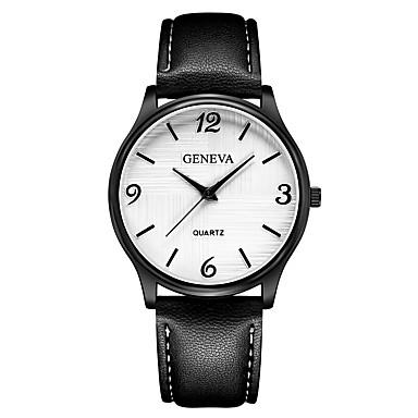 Geneva نسائي ساعة المعصم كوارتز جلد أسود / بني / أزرق داكن تصميم جديد ساعة كاجوال كوول مماثل سيدات كاجوال موضة - أسود وذهبي أسود / أبيض أبيض / البيج سنة واحدة عمر البطارية