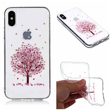voordelige iPhone-hoesjes-hoesje Voor Apple iPhone X / iPhone 8 Plus / iPhone 8 IMD / Transparant / Patroon Achterkant Boom / Bloem Zacht TPU