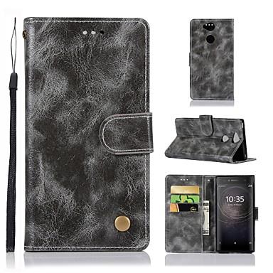 Недорогие Чехлы и кейсы для Sony-Кейс для Назначение Sony Sony Xperia XZ2 Premium / Xperia XZ2 Compact / Xperia XZ2 Кошелек / Бумажник для карт / со стендом Чехол Однотонный Твердый Кожа PU