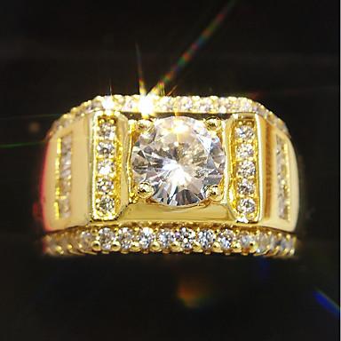 ieftine Bijuterii Bărbați-Inel Clasic Auriu 18K Placat cu Aur Alamă Diamante Artificiale Prețios Clasic Modă Hip-Hop 1 buc 7 8 9 10 11 / Bărbați / Inel de Logodnă / Solitaire