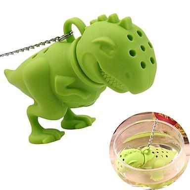 سيليكون ديناصور infuser فضفاض أوراق مصفاة فلتر العشبية الناشر
