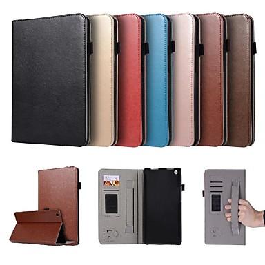 غطاء من أجل Huawei Huawei MediaPad M3 Lite 8(CPN-W09, CPN-AL00 حامل البطاقات / مع حامل / مغناطيس غطاء كامل للجسم لون سادة قاسي جلد PU