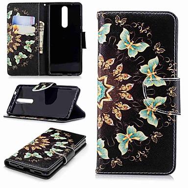 Недорогие Чехлы и кейсы для Nokia-Кейс для Назначение Nokia Nokia 5 / Nokia 3 / Nokia 2.1 Кошелек / Бумажник для карт / со стендом Чехол Бабочка Твердый Кожа PU