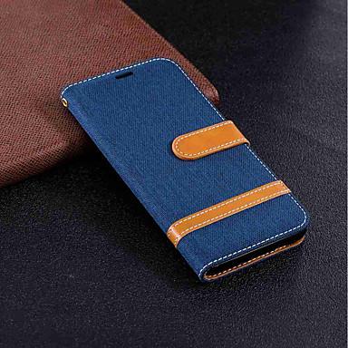 رخيصةأون حافظات / جرابات هواتف جالكسي A-غطاء من أجل Samsung Galaxy A6 (2018) / A6+ (2018) / A5 (2017) محفظة / حامل البطاقات / مع حامل غطاء كامل للجسم لون سادة قاسي منسوجات