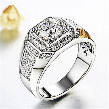 رخيصةأون خواتم-رجالي خاتم 1PC فضي نحاس تقليد الماس مكعب أنيق كلاسيكي زفاف مناسب للبس اليومي مجوهرات 3D سوليتير حول