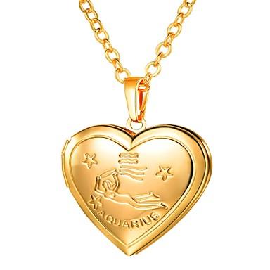 رخيصةأون قلادات-نسائي قلائد الحلي طويل منقوش مدلاة قلب سيدات رومانسي موضة نحاس ذهبي فضي 55 cm قلادة مجوهرات 1PC من أجل هدية مناسب للبس اليومي