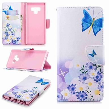 Недорогие Чехлы и кейсы для Galaxy Note 4-Кейс для Назначение SSamsung Galaxy Note 5 / Note 4 / Note 3 Кошелек / Бумажник для карт / со стендом Чехол Бабочка Твердый Кожа PU