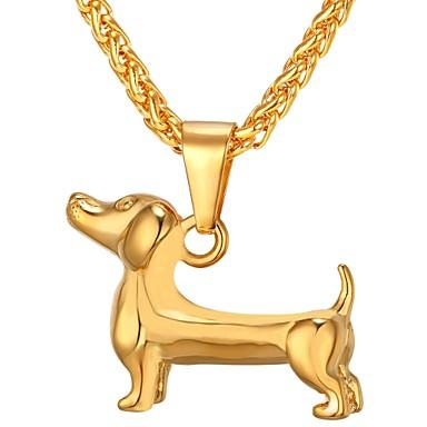 رجالي قلائد الحلي ستايل كلاب شائع موضة هيب هوب الفولاذ المقاوم للصدأ ذهبي أسود فضي 55 cm قلادة مجوهرات 1PC من أجل هدية مناسب للبس اليومي