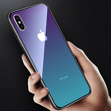 غطاء من أجل Apple iPhone X / iPhone 8 Plus / iPhone 8 شبه شفّاف غطاء خلفي لون متغاير قاسي زجاج مقوى