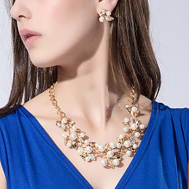 Pentru femei Perle Seturi de bijuterii Flori Floare femei Personalizat European Modă Perle Imitație de Perle Ștras cercei Bijuterii Auriu / Argintiu Pentru Nuntă Petrecere Zi de Naștere Logodnă Cadou