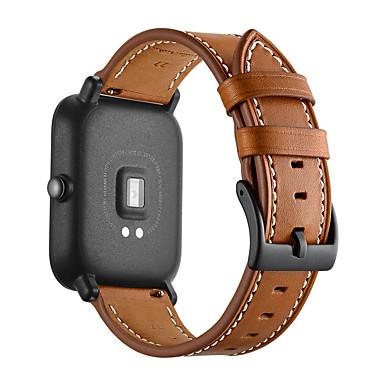voordelige Smartwatch-accessoires-Horlogeband voor Huami Amazfit Bip Younth Watch Xiaomi Moderne gesp Echt leer Polsband