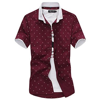 رخيصةأون قمصان رجالي-رجالي مناسب للحفلات / عمل قميص ياقة كلاسيكية / كم قصير / الصيف