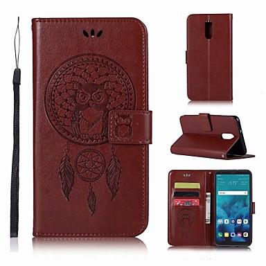 Недорогие Чехлы и кейсы для LG-Кейс для Назначение LG LG Q7 Кошелек / Бумажник для карт / со стендом Чехол Сова Твердый Кожа PU