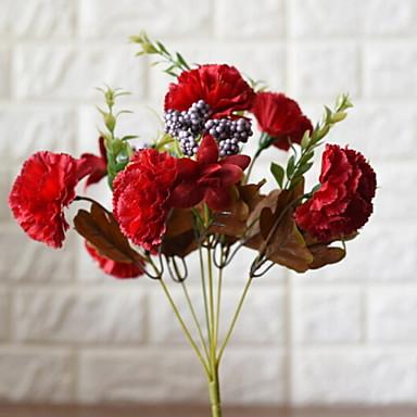 زهور اصطناعية 1 فرع كلاسيكي الحديث قرنفل أزهار الطاولة