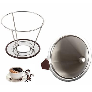 تصفية القهوة قابلة لإعادة الاستخدام حامل الفولاذ المقاوم للصدأ مرشحات القهوة بالتنقيط القمع شبكة معدنية الشاي مرشح سلة أدوات