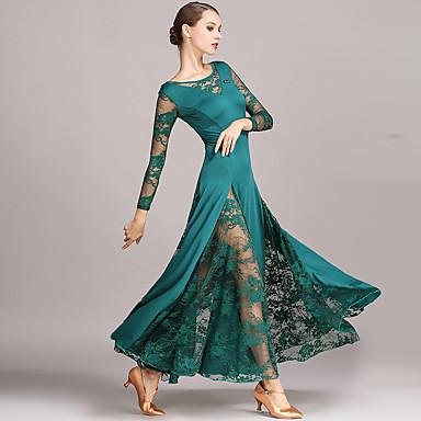 cheap Dancewear & Shoes-Ballroom Dance Dresses Women's Performance Lace / Milk Fiber Lace Long Sleeve Natural Dress
