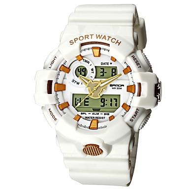رخيصةأون ساعات الرجال-SANDA رجالي ساعة رياضية ساعة رقمية ياباني رقمي سيليكون أسود / الأبيض / أزرق 30 m مقاوم للماء رزنامه ساعة التوقف تناظري-رقمي ترف موضة - أبيض / ذهبي ذهبي روزي / أبيض أسود / ذهبي روزي / قضية
