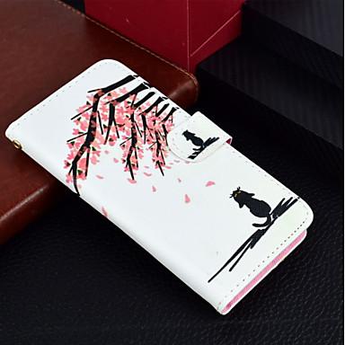 Недорогие Кейсы для iPhone 6 Plus-Кейс для Назначение Apple iPhone X / iPhone 8 Pluss / iPhone 8 Кошелек / Бумажник для карт / со стендом Чехол Кот / Цветы Твердый Кожа PU