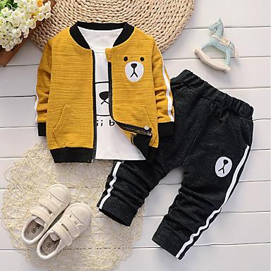 povoljno Odjeća za bebe Za dječake-Dijete Dječaci Ležerne prilike / Osnovni Dnevno / Sport Panda Žakard Vezeno Dugih rukava Regularna Normalne dužine Pamuk / Lan Komplet odjeće Djetelina / Dijete koje je tek prohodalo