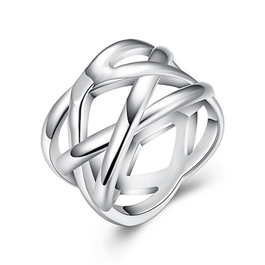 olcso Ezüst ékszerek-Női Band Ring 1db Ezüst Réz Ezüstözött Circle Shape Geometric Shape hölgyek Stílusos Egyedi Napi Munka Ékszerek Stílusos Kreatív Menő
